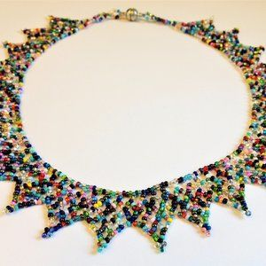 Czech Bead MULTI-COLOR BRIGHTS LACE Style Necklace